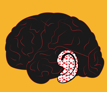 iconceptual illustration of a brain with a ear hearing love on a yellow background