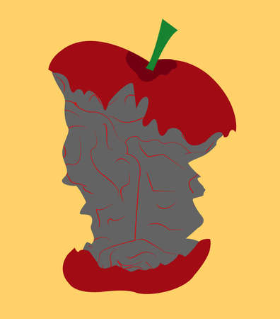 illustration of an apple in form of a brian that is eaten Stock Photo