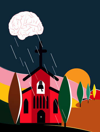 illustration of a cloud in form of a brain raining over the church in a Tuscany landscape, challenging the notion of religion