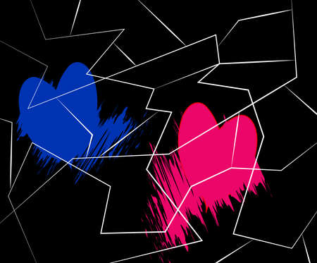 illustration of two hearts on a black background Stock fotó