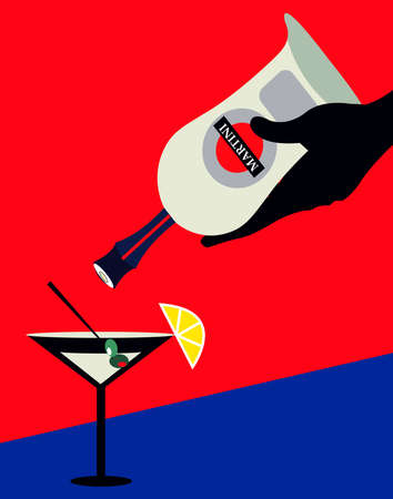 illustration of a cocktail and a bottle of martini on  ared background 写真素材