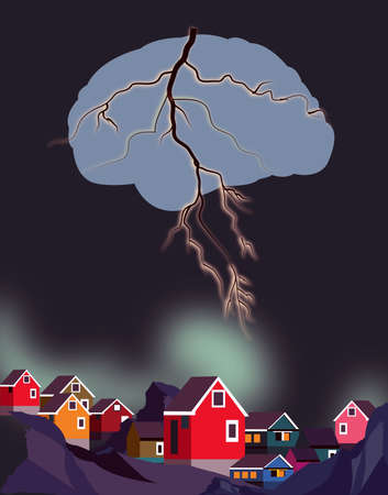 illustration of a brain in form of a lightning striking over the houses