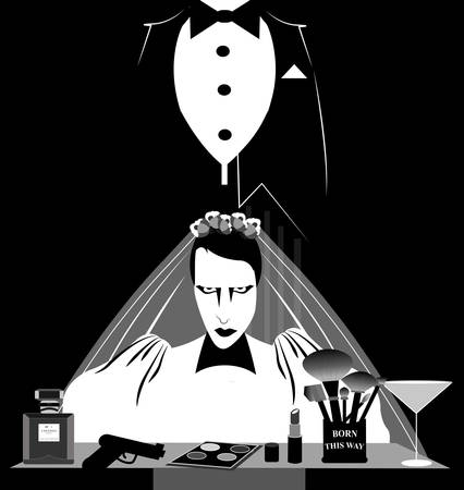 illustration of a marriage between two men in black and white