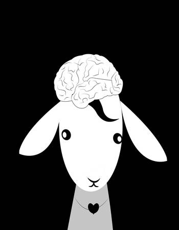 illustration of a baby lamb with a brain as a hair style looking innocent