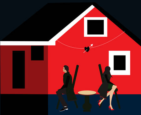 illustration of a broken couple in front of their house
