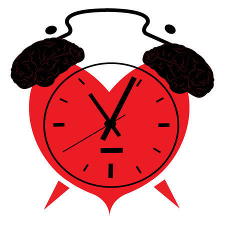 illustration of a clock in the shape of a heart with brains as an alarm