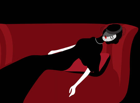 illustration of a widow sleeping on a red sofa