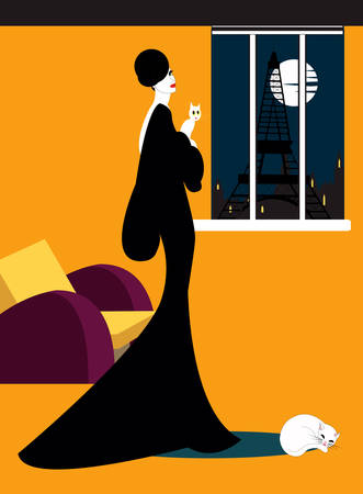 illustration of an elegant woman in black dress holding her cat in her Parisian apartment