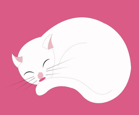 illustration of a white cat sleeping