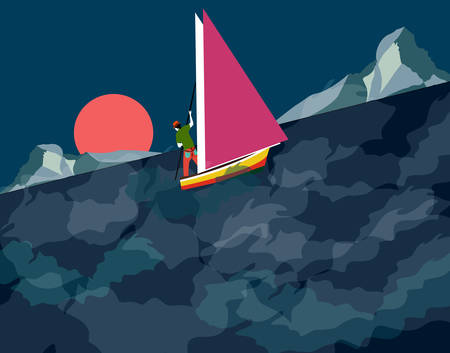 man sailing on a stormy night Illustration