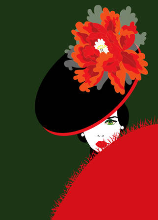 mujer elegante con sombrero con una peonía