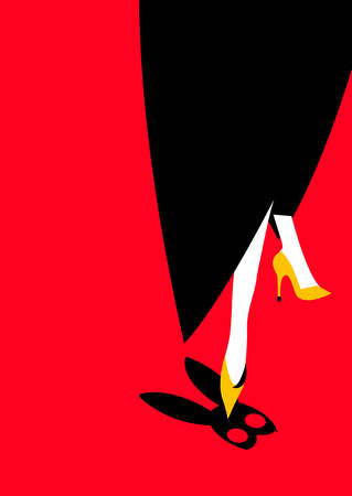 illustration of a woman showing her leg and stepping on a bunny mask, red background