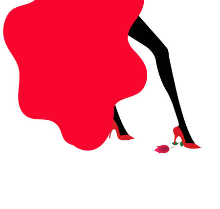 illustration of a dancer with a red dress and red shoes stepping on a rose