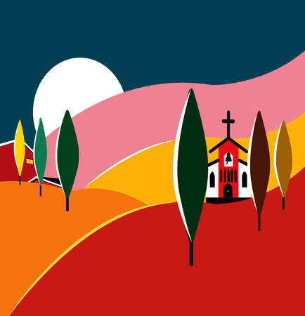 illustration of a colorful talian landscape, tuscany