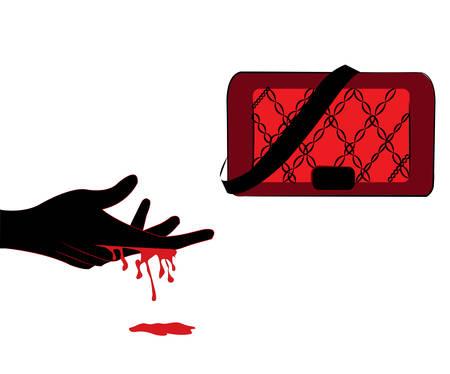 illustration of a hand bleeding reaching toward a red bag Illustration