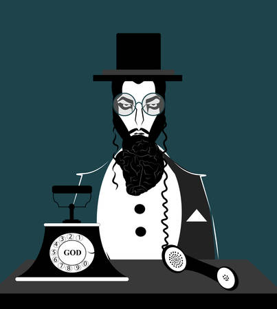 illustration of a jewish man with a beard in the shape of a brain and peculiar jewish hair connected to a phone