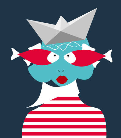 illustration of a woman dressed as a sailor with a paper boat on her head and eyes in the form of fish, metahpric idea about a sailor