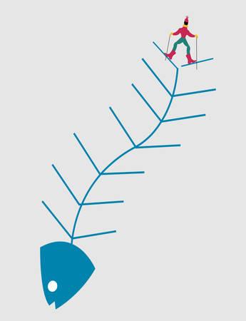 illustration of a skier on a fish skeleton, concepual idea about skiing Illusztráció