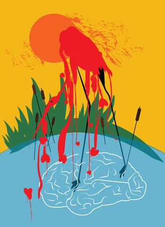 illustration of a red stork melting in the water with red hearts and creating waves in the form of a brain with peculiar lake foliage