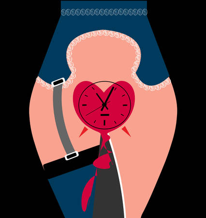 illustration of a woman's vagina in the shape of a clock as a heart clock, illustrating the biological clock of a woman