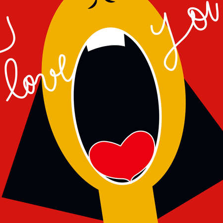 illustration of a woman screaming that she is in love, on a red background Imagens