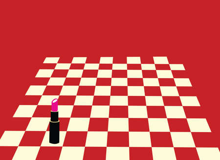 illustration of a lipstick as a bishop on a chessboard winning in an absurd way