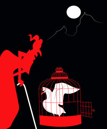 illustration of the devil keeping captive in a cage the white swan Векторная Иллюстрация