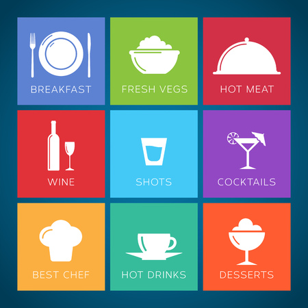 Bar and restaurant flat style vector icons set Vector