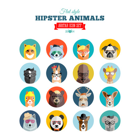 Flat Style Hipster Animals Avatar Icon Set for Social Media or Web Site Vector