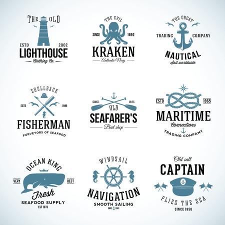 ビンテージ航海ラベルとレトロなタイポグラフィと標識のセット  イラスト・ベクター素材