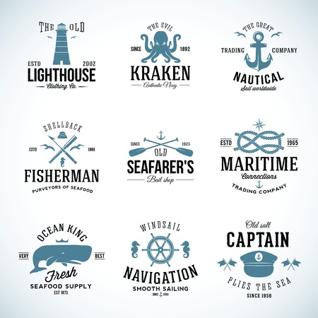 whale: Set of Vintage Nautical Labels and Signs With Retro Typography