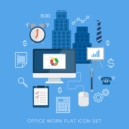 Office work flat icon set Stock Vector - 30017887