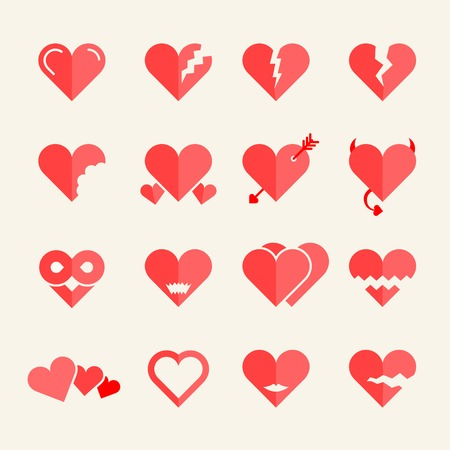 Flat vector hearts set Vector