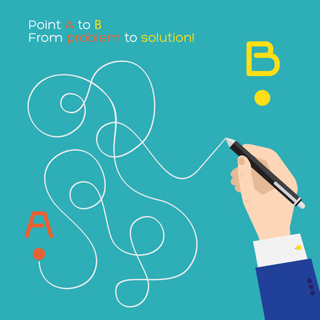 shortest: Point A to B flat pen route Illustration