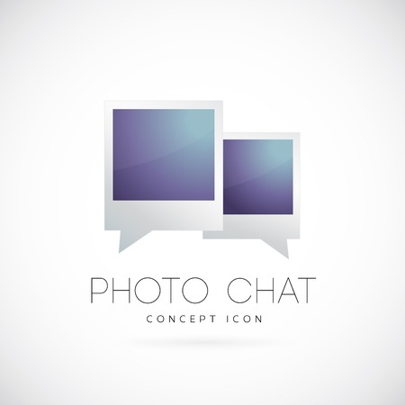 photo gallery: Photo chat concept symbol icon Illustration