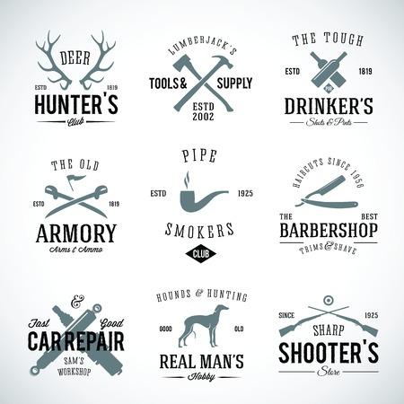 perro de caza: Conjunto de etiquetas del vintage con retro Tipografía para las manías de los hombres s, como la caza Perro armas Reparación Cría de coches etc