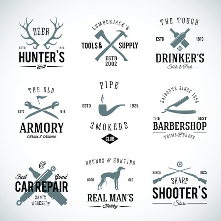 Set of Vintage Labels With Retro Typography for Men s Hobbies Such as Hunting Arms Dog Breeding Car Repair etc Vector