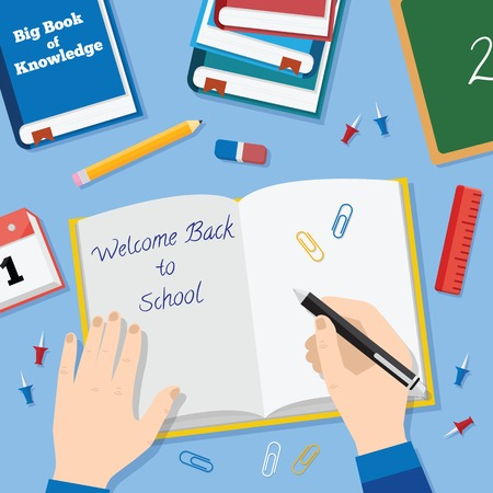 Back to School Flat Style Vector Background With Books Pencils Pen and Other Stationary Vector
