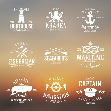 ship wheel: Set of Vintage Nautical Labels or Signs With Retro Typography on Blured Background Anchors Steering Wheel Knots Seagulls and Wale.