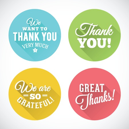 Thank You Abstract Vector Flat Style Badges or Icons Isolated Vettoriali