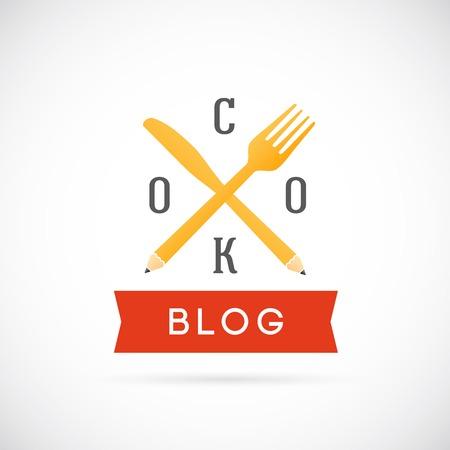 Cook Blog Vector Concept Icon or Logo Template