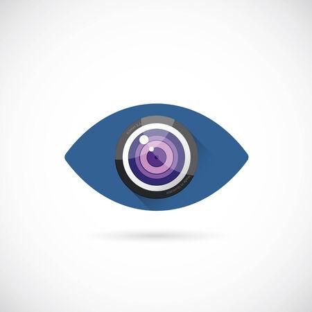 Eye Lens Abstract Vector Concept Symbol Icon or Logo Template Vector
