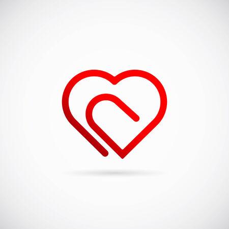 Paperclip Heart Concept Vector Symbol Icon or Logo Template Vector