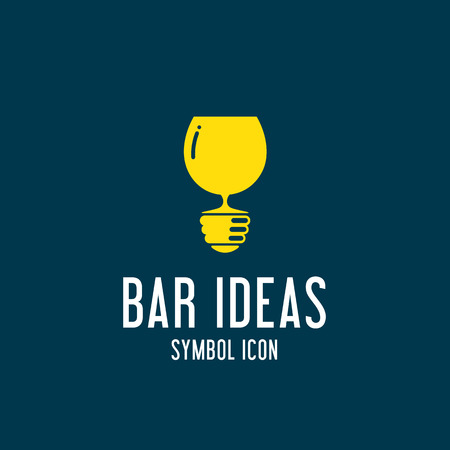 wine label design: Bar Ideas Vector Concept Symbol Icon or Logo Template