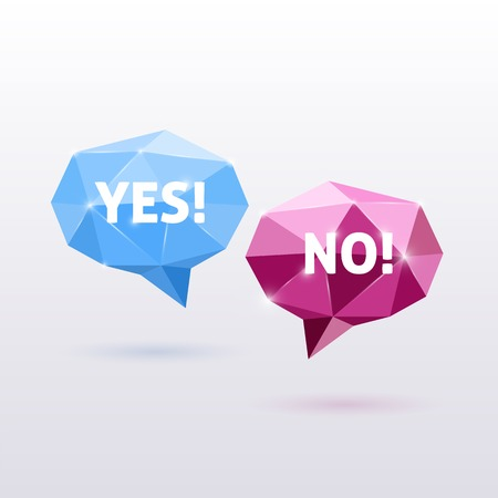 no talking: Yes and No Triangle Polygonal Speech Bubbles Illustration