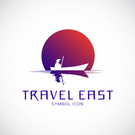Travel East Vector Concept Symbol Icon or Logo Template Vector
