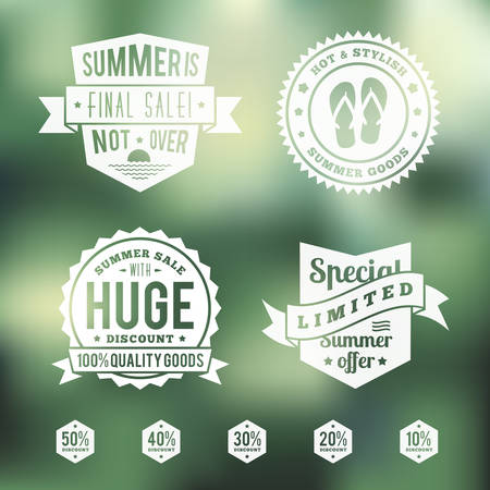 clearance sale: Summer Sale Vintage Badges Set Illustration
