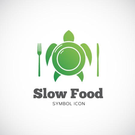slow food: Slow Food Vector Concetto Simbolo icona o logo modello