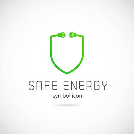 energy logo: Safe Energy Vector Concept Symbol Icon or Logo Template