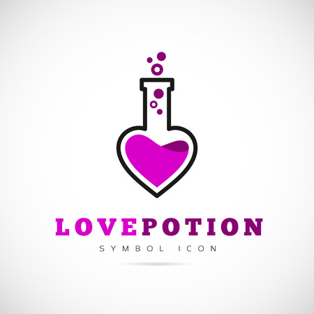 romantic sex: Love Potion Vector Concept Symbol Icon or Logo Template